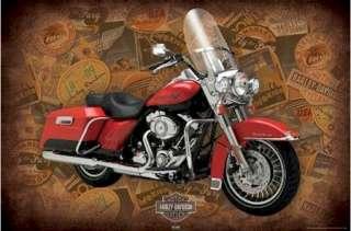 POSTER ~ MOTORCYCLE HARLEY DAVIDSON ROAD KING LOGOS