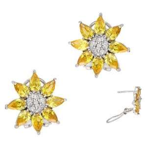 C.Z. (.925) STERLING SILVER YELLOW FLOWER RHODIUM PLATED