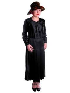 Vintage Black Silk Satin Day Dress 1920s Zip Front Small Large