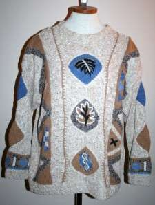 SIGRID OLSEN Hand Knit Sweater Brown Blue Womens Large