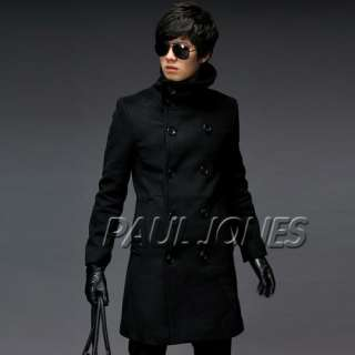 PJ New Slim Fit Fashion Mens Double Breast Trench Coat