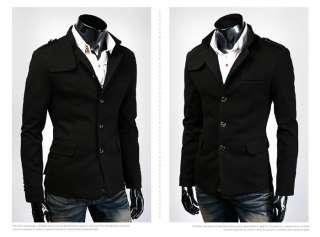 F1019 New Mens Fashion Slim Premium Coats Jackets 3 Buttons 2 Colors 4