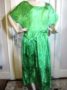 Vintage 1950s Green Satin Shirtwaist Dress~Extra Large~Mad Men~Metal