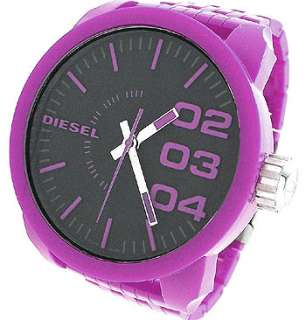 Diesel DZ1519 Black Round Dial Purple Plastic Mens Watch