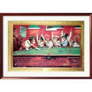 Coolidge Dogs Playing Pool Framed Poster Print, 43x31