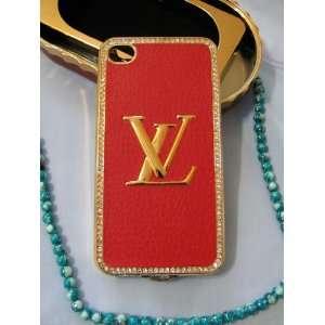 Brand New LV Red Diamond   Gold Rim iPhone 4/4S/4G Case