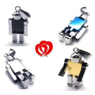 New Mens Stainless Steel Robot Pendant Necklace Gift