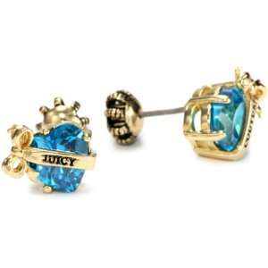 Juicy Couture Jewelry Banner Heart Crystal Earrings Blue Gold Jewelry