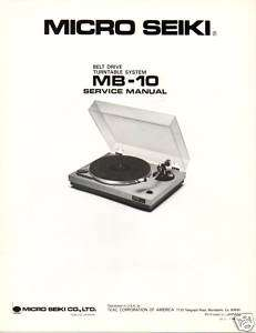 Original Service Manual Micro Seiki MB 10 Turntable