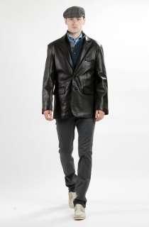United Face Mens New 2 Button Black Lambskin Leather Blazer Jacket