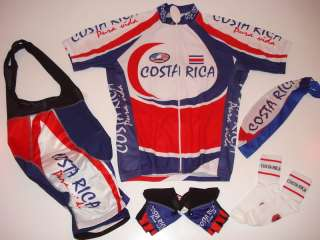 New COSTA RICA Team Cycling Set Jersey Bib Shorts S