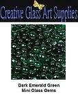 50   Dark Emerald Green Mini Glass Gems, great for craf