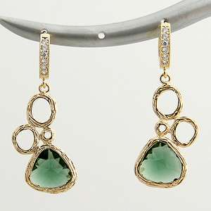 Green CZ and Gold Plated Multi Circle Drop Earrings