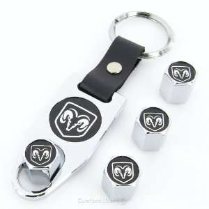 Ram Black Logo Chrome Tire Valve Caps + Wrench Key Chain Automotive