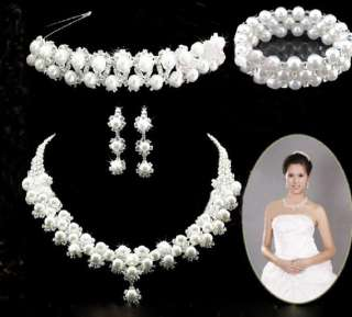 Faux Pearl Bridal Wedding Jewelry Crystal Earrings Necklace Bracelet
