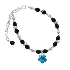 Hot Blue and Blue Flower Black Czech Glass Beaded Charm