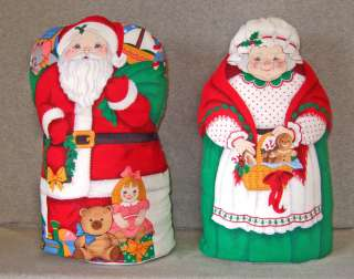 Vintage Mr. & Mrs. Santa Claus Stuffed Cloth Dolls~weighted bottoms~13