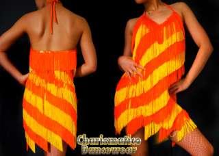 Custom Orange Drag Queen FLAPPER Latin DIVA dance dress