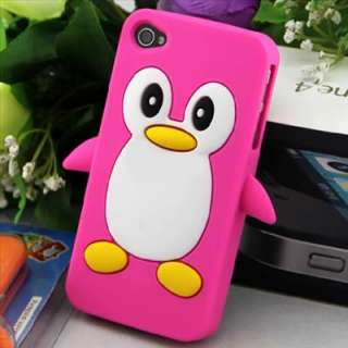Cute Penguin Silicone Soft Case Cover Skin For Apple iPhone 4 4G 4S S