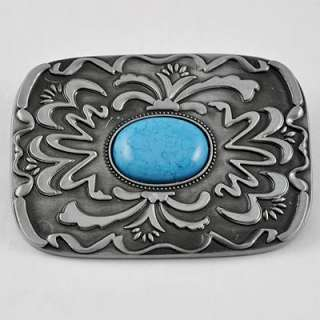 Western Floral Flower Scroll Tribal Tattoo Art Metal Buckle Leather