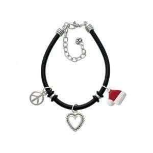 Santas Hat Black Peace Love Charm Bracelet [Jewelry