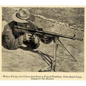 1918 Print Chauchaut Machine Gun Soldier Firing WWI   Original