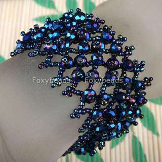 Dark Blue Crystal Beaded Weave ~Cuff~ Bracelet Bangle