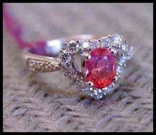 NATURAL PADPARADSCHA SAPPHIRE & DIAMOND RING (18K WHITE GOLD)