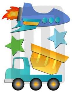 TRUCK CAR ROCKET BABY BOY NURSERY WALL STICKERS DECALS