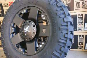 295 70 18 x9 Rockstar Black Rims Wheels Nitto Trail 35