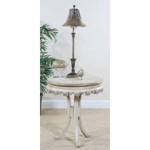 Ecru Round Pedestal End Table (Ecru Distressed Finish) (27