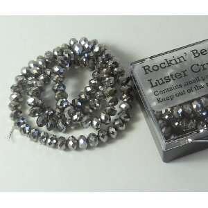 Silver Metallic Crystal Glass Faceted Fluted Machine Cut Rondelle