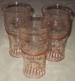 Macbeth Evans Glass Pink Ringed Ring Target Tumblers 3