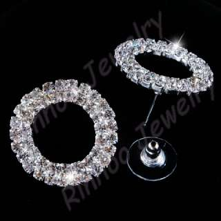 Ringed Austrian Rhinestone Crystal Necklace&Earring set