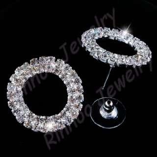 Ringed Austrian Rhinestone Crystal Necklace&Earring set