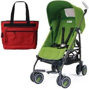 Peg Perego Pliko Mini Stroller with a red Diaper Bag Aloe Green: Baby