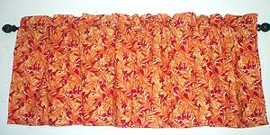 Valance. Donna Dewberry Floral in orange and red background