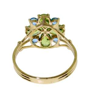 14K Gold Set of Natural Peridots & Blue Topaz Flowers Ring, Earrings
