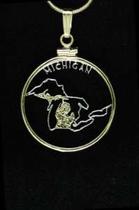 Michigan U.S. State Cut Coin Pendant Necklace 7/8diam.
