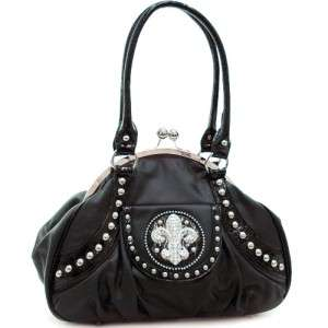 Rhinestone studded fleur de lis zebra satchel Handbag Purse with Kiss