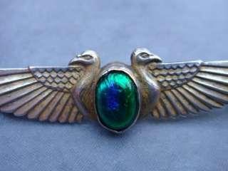 Art Deco Silver Egyptian Revival Bird Brooch Pin