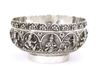 1900s India Indian Hindu Repousse Silver Bowl Buddha