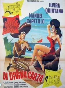 530 La Divina Garza, original Mexican movie Poster, Elvira Quintana