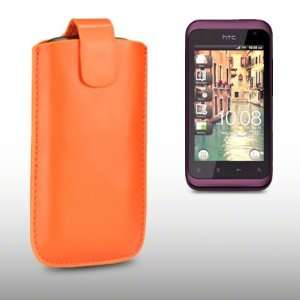 HTC RHYME PU LEATHER CASE, BY CELLAPOD CASES ORANGE Electronics