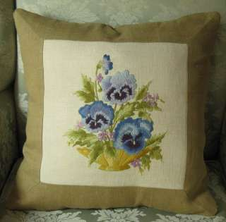 Pansies Create Antique Crewel Embroidery Pillow