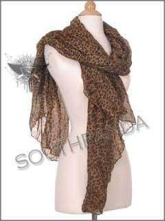 Brown Yellow Black Leopard Long Thin Shawl Scarf Wrap Warm Enchanting