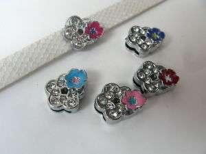 Flower slide Charms Fit Wrisband Bracelet and Pet Collar Dog Tag Band