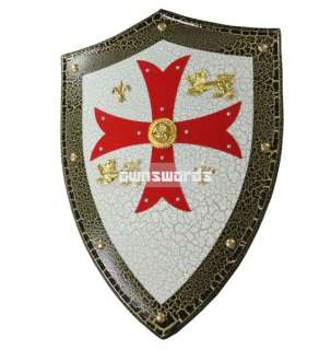 MEDIEVAL LION Knight Templar Shield with Red Cross NEW