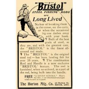 Bristol Steel Fishing Rods   Original Print Ad Home & Kitchen