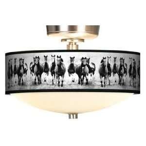 Wild Horses Giclee Energy Saver Brushed Steel Fan Light